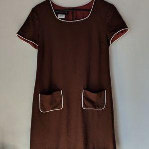 Vtg 90s does 60s brown linen blend dress
